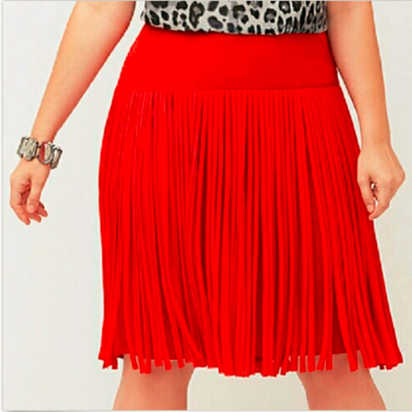 Lane Bryant Dresses & Skirts - Lane Bryant red skirt fringe size 28 Valentine